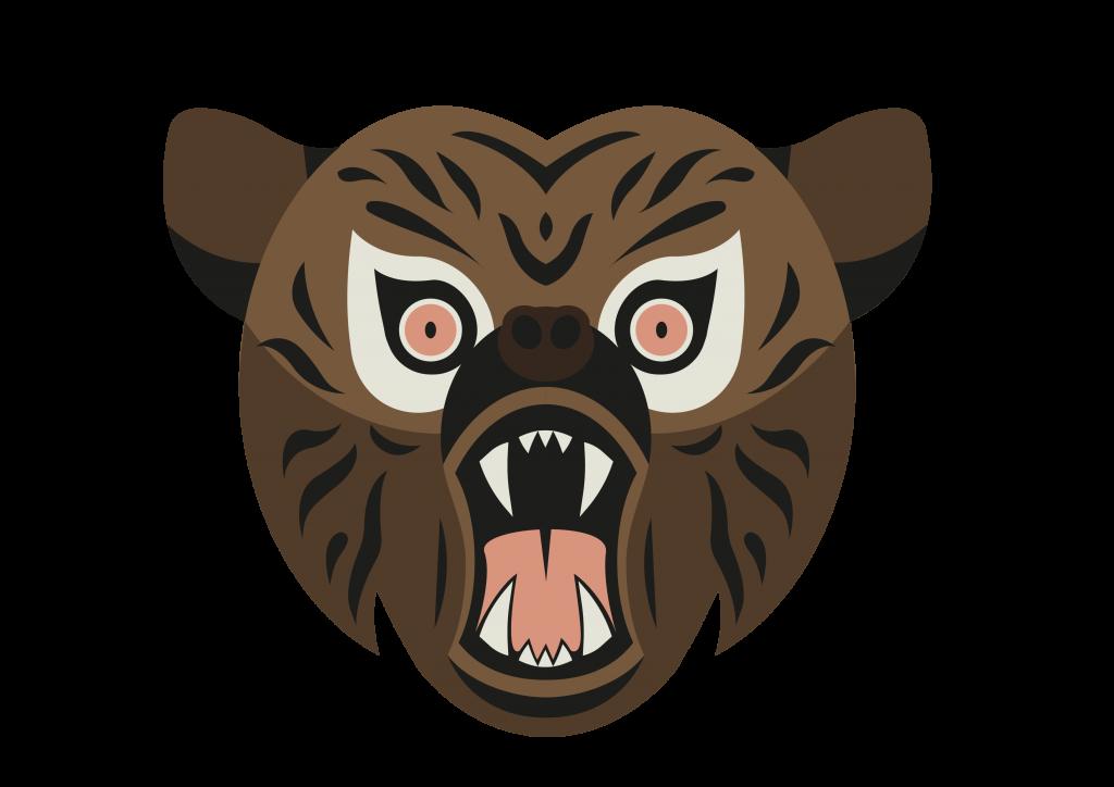 Tegnet bjørn med åben mund.